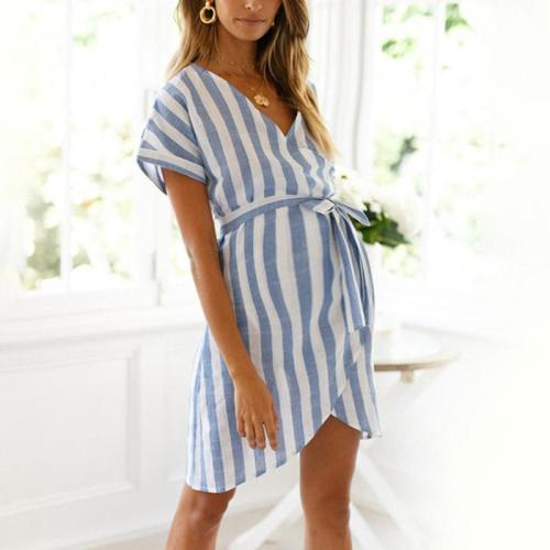 Maternity V-Neck Stripe Tie Casual Dress