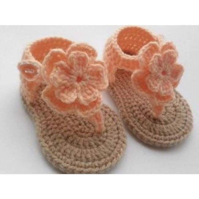 Crochet Baby Shoes Sandals Hibiscus Flower Coral ( 0-9 Months)
