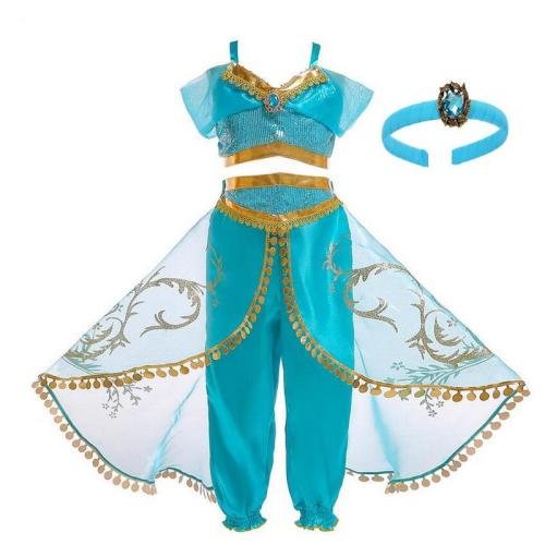 Kids Girls Princess Jasmine Costumes For Children