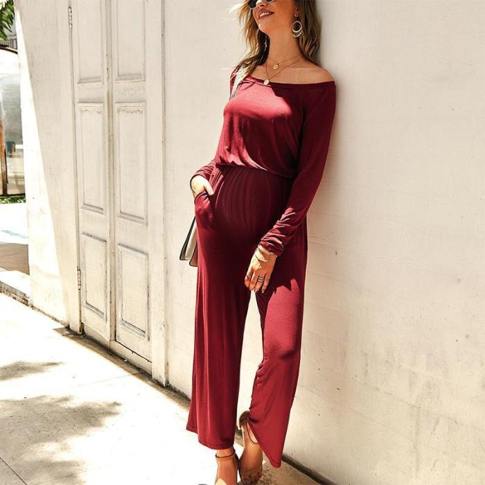 Maternity Casual Off Shoulder Pure Color Long Sleeve Jumpsuit