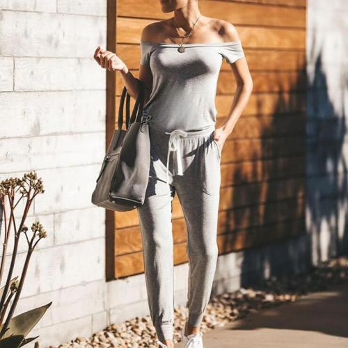 Maternity Casual Boat Neck Off-Shoulder Short Sleeve Pure Colour Jumpsuit