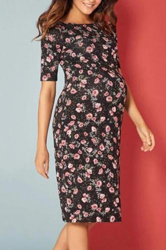 Maternity Commuting Floral Printed Round Neck Dress