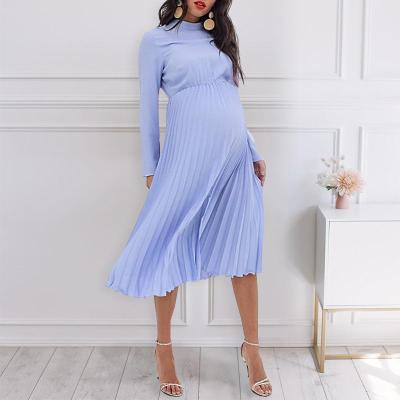 Maternity Casual Solid Color Collar Pleated Long Sleeve Dress
