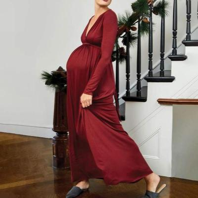 Maternity Sexy Solid Color Deep V High Waist Long Dress