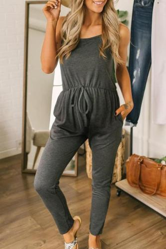Maternity Casual Pure Color Sling Jumpsuit
