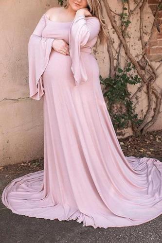 Maternity Shoulder Out Floor-length Bell Sleeve Dress