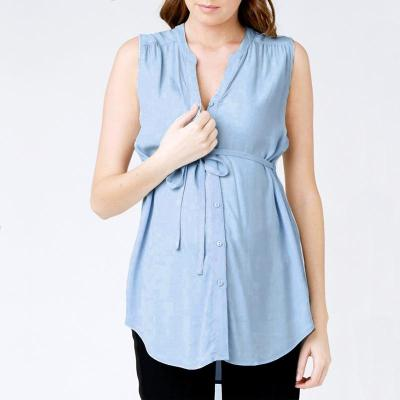 Maternity 2020 Sexy V Neck Sleeveless Casual Loose Pregnancy Blouses
