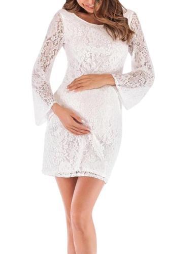 Lace Long Sleeve White Elegant  nursing dresses