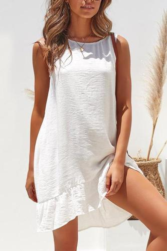 Maternity Plain O-Neck Sleeveless Falbala Casual Dress