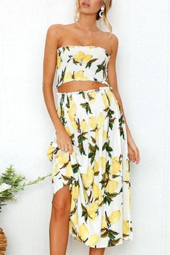 Maternity Strapless Printed Two-Piece Suit Dress