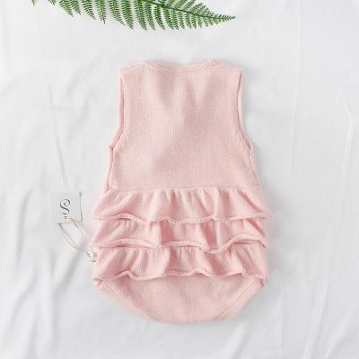 Autumn Lotus Leaf Swing Baby Knitted Wool Jumpsuit