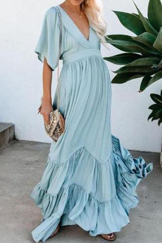 Maternity Wear Sweet V Neck Pure Colour Short Sleeve Dress