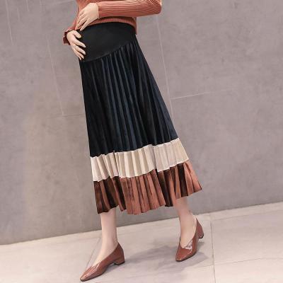 Maternity Fashion Velvet Colorblock Pleated Skirt