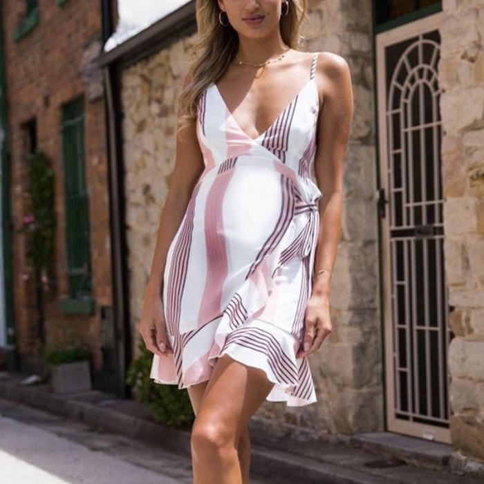 Maternity Sexy Sling Strap Stripe Asymmetric Daily Dress