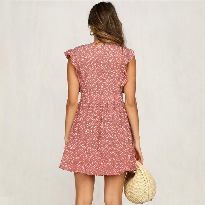 Maternity Printed V-Neck Dress