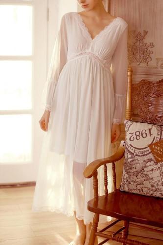 Maternity Chiffon V-Neck Lace Long Sleeve Dress Maternity Baby Shower Dress