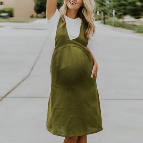 Maternity Pure Color Sleeveless Strap Dress