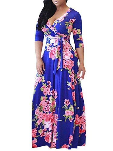 V-Neck  Belt  Floral Plus Size Midi & Maxi Dresses