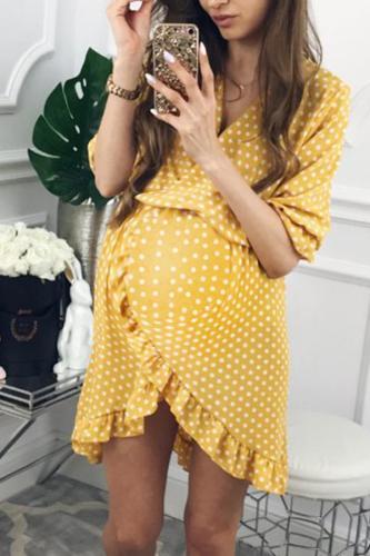Maternity V-Neck Falbala Short Skirt
