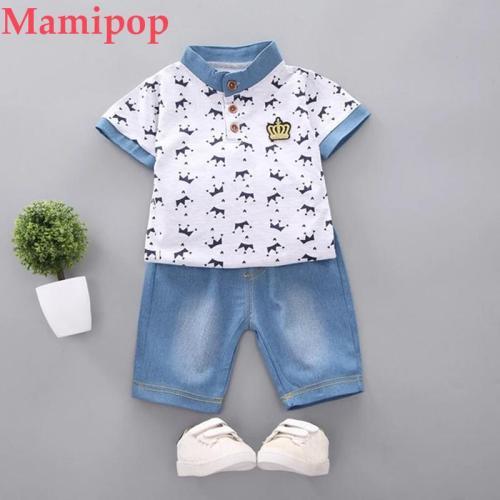 Summer Kids Clothes Kids  Short Sleeve T Shirt Tops Shorts Pants 2pcs Clothes Set