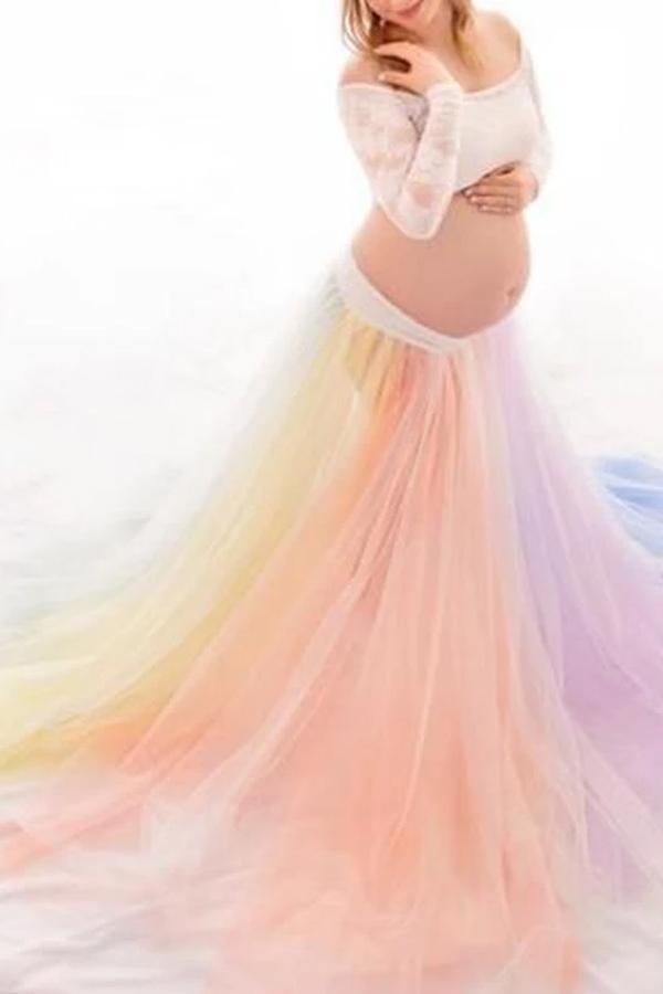 Maternity Colorful Mesh Long Sleeve Skirt Suit