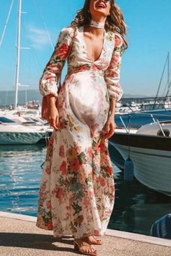 Maternity Printed Color Bishop Sleeve V-Neck Loose Beach Dress