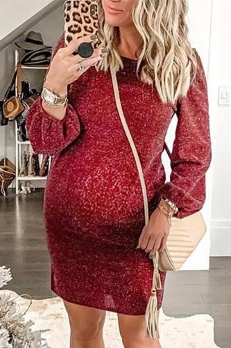 Maternity Round Neck Solid Color Lantern Sleeve Dress