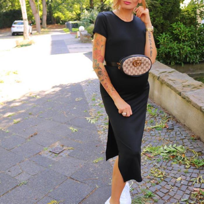 Maternity Solid  Side Slit Full Length Dress