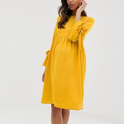 Maternity Long Sleeve Plain Dress