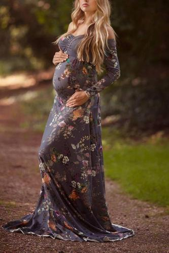 Maternity Off Shoulder Floral Print Floor-Length Dress