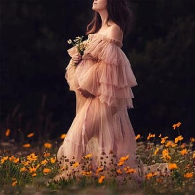 Maternity Pregnant Women Mesh Pure Color Dress Long Skirt