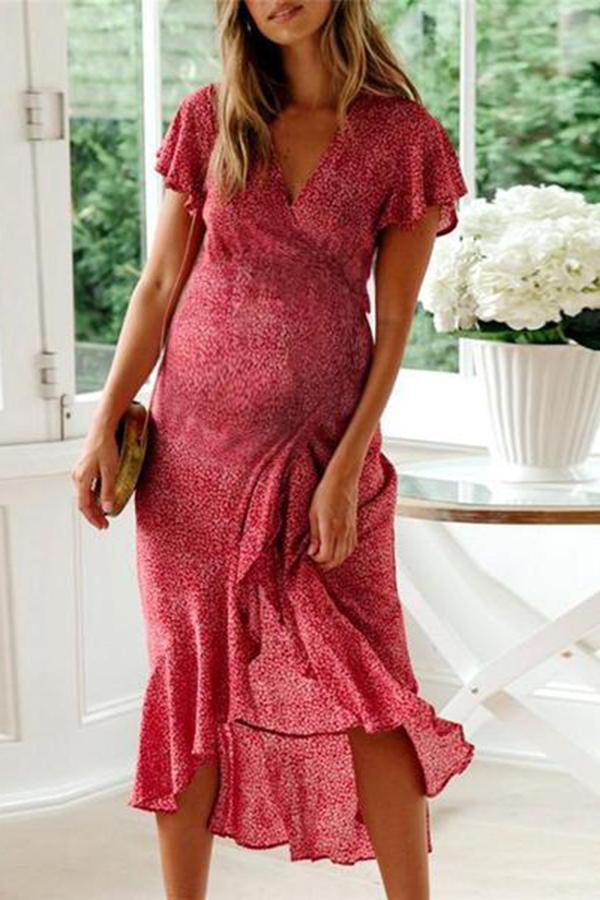 Maternity V Collar Printed Flying Sleeve Frenulum Midi Dress