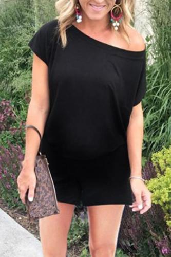 Maternity Casual Short-Sleeved Pocket Jumpsuit