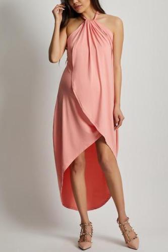Maternity Halter  High-Low Maxi Dress