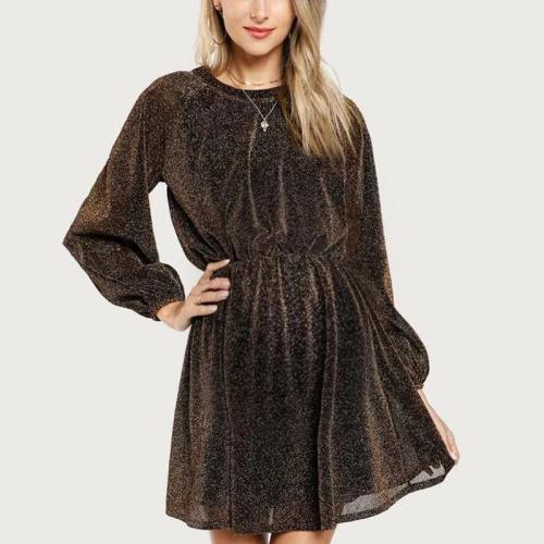 Maternity Fashion Solid Color Round Neck Sequined Long Sleeve Dress