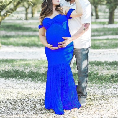 Maternity Lace Off Shoulder Maxi Dress Maternity Baby Shower Dress