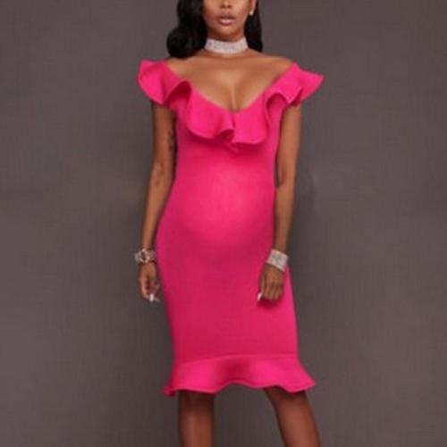 Maternity Deep V-Neck Ruffle Sleeve Dress