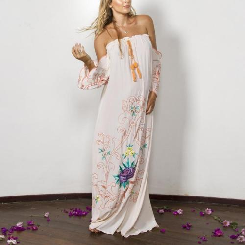 Maternity Bohemian Style Shoulder Embroidered Trumpet Sleeve Dress