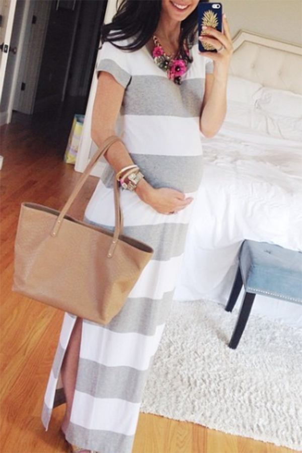 Maternity Wide Stripe Side Slit Maxi Dress