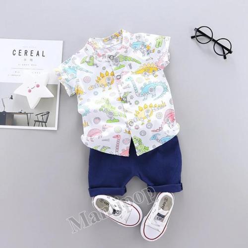 Children's Clothing 2020 Boy Machine Dinosaur Shirt and Shorts Two Sets