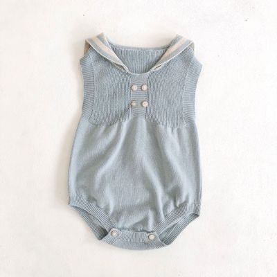 Baby children's One-piece Clothes Navy knitting Sleeveless Triangle Hardcover Creeper