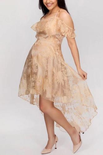 Maternity Lace Net Yarn Stitching Sling Lotus Leaf Princess Dress