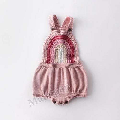 Baby Child Rainbow Strap Knitted Woolen Sweater Garment