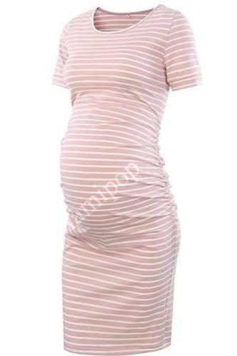 Women's New Round-necked Short-sleeved Striped Maternity Dress