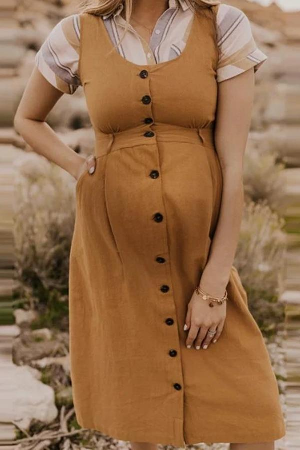 Maternity Single-breasted Scoop Neck Dress