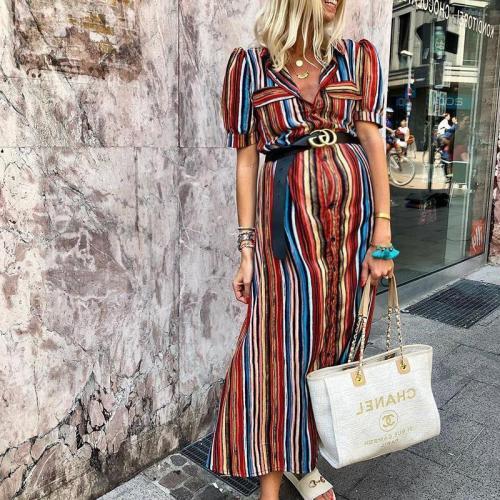 Maternity Women's Folded Collar Short Sleeve Striped Dress