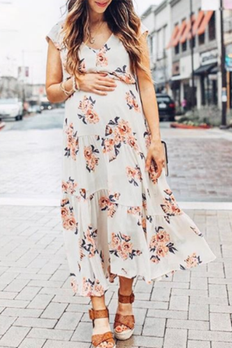 Maternity Floral Print V-Neck Ruffle Ankle-Length Dress