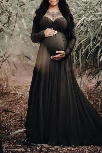 Maternity Elegant Tube top Pure Color Dress
