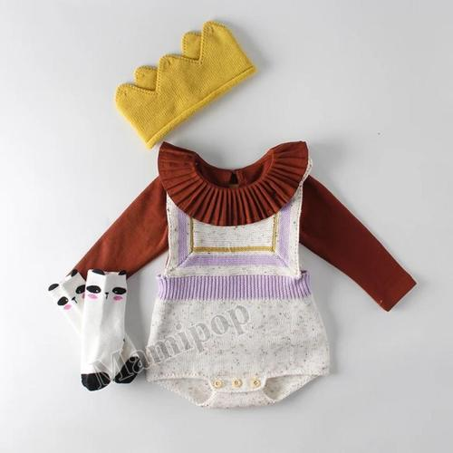 Baby Children Geometric Brace Knitting Wool One-piece Clothes
