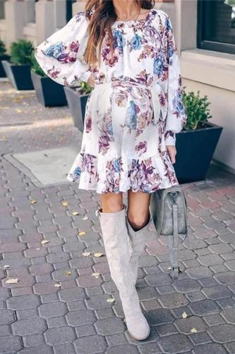 Maternity Fashion Purple Blue Floral Print Square Neck Lantern Sleeve Dress